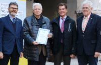 Presentation of FEPA Awards: Certificate of Appreciation to The Philatelic Society of Ljubljana, Slovenia